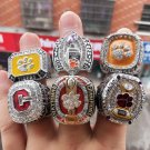6PCS Clemson Tigers NCAA National Championship Rings Size 11 Solid Back