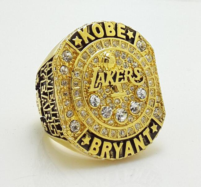 Kobe Bryant 20 Years Los Angeles Lakers Career Basketball Ring Collection size 10 & 11 US Back Solid