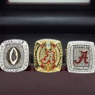 3PCS 2015 2016 Alabama Crimson Tide National NCAA Championship Rings 8-14S + Wooden Case