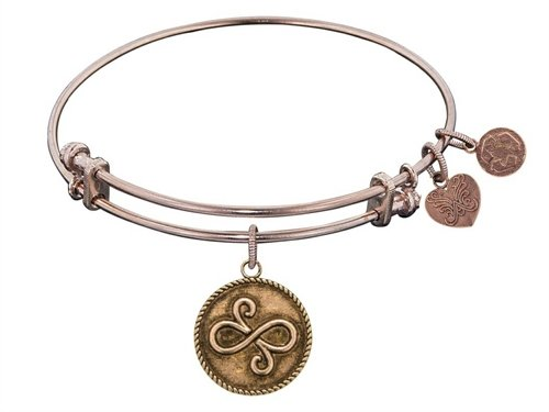 "Angelica Collection Antique Pink Smooth Finish Brass ""best Friends"" Expandable Bangle"