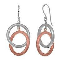 Stardust pink double ring earrings in sterling silver