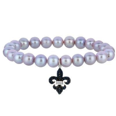 Phillip Gavriel Sterling Silver Pearl & Black Sapphire Fleur De Lis Stretchable Bangle Bracelet.