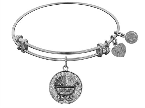"""Angelica Collection Non-antique White Stipple Finish Brass """"new Mom"""" Expandable Bangle"""
