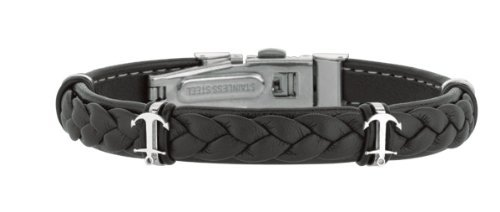 Joseph Tyler Stainless Steel Polish In Brown Weaved Leather Bracelet Deployment Clasp Anchor design