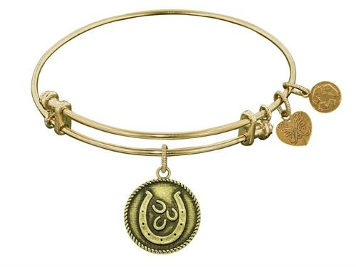 """Angelica Collection Antique Yellow Smooth Finish Brass """"Lucky Horseshoes"""" Expandable Bangle"""