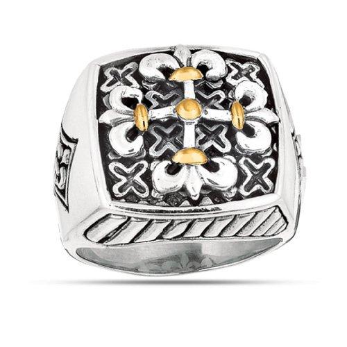 Phillip Gavriel Oxidized Maltese Ring In Sterling Silver & 18K Gold
