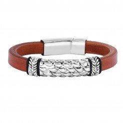 Joseph Tyler collection Stainless Steel Brown Leather Bracelet Stainless Steel Center Textured Strip