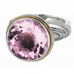 Phillip Gavriel 18kt Yellow Gold & Sterling Silver Round Pink Amethyst Ring. Size-06.