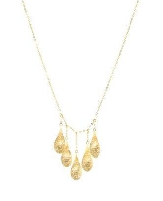 STIL NOVO 14K Gold Yellow Gold 5-Leaf Necklace Mesh Hand Made In Italy  N2199