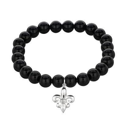 Phillip Gavriel Sterling Silver Fleur De Lis Black Onyx Stretchable Bangle Bracelet.