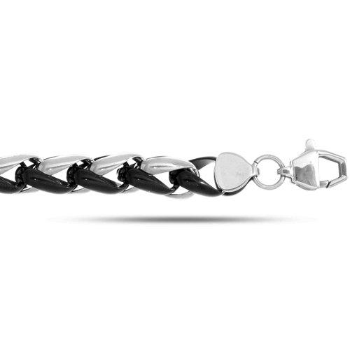 Joseph Tyler collection JTC Stainless Steel Braided Style Black And White Men's Bracelet