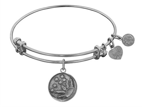 "Angelica Collection White Smooth Finish Brass ""sun, Moon, Stars"" Expandable Bangle"