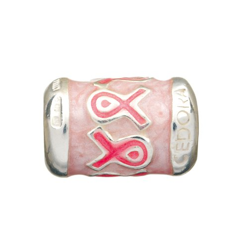 Personality lite and dark pink enamel breast cancer awareness ribbon barrel bead