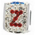 "Personality jewelry collection Red+Blue+White Crystal Inital ""Z"" Cube Bead"