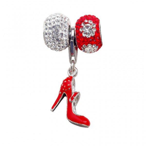 Personality Elliptical Bead box set with Red Hi-Heel Closed Toe Shoe Charm.
