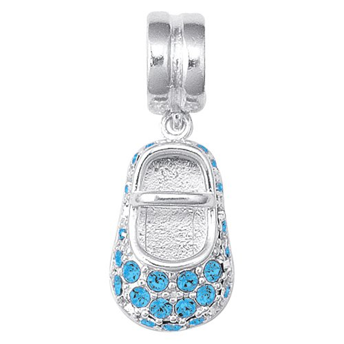 Personality blue crystal embedded dangle baby shoe bead