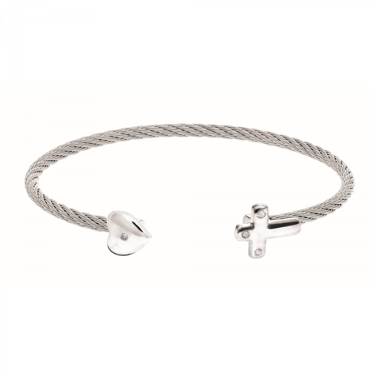 Montreaux Collection Sterling Silver Heart Cross Stainless Steel .04ct Diamonds Bangle