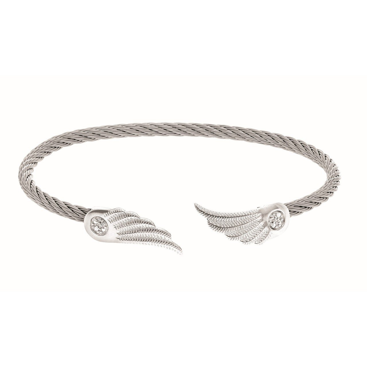 MOntreaux collection sterling silver angel wings stainless steel .02CT diamond bracelet