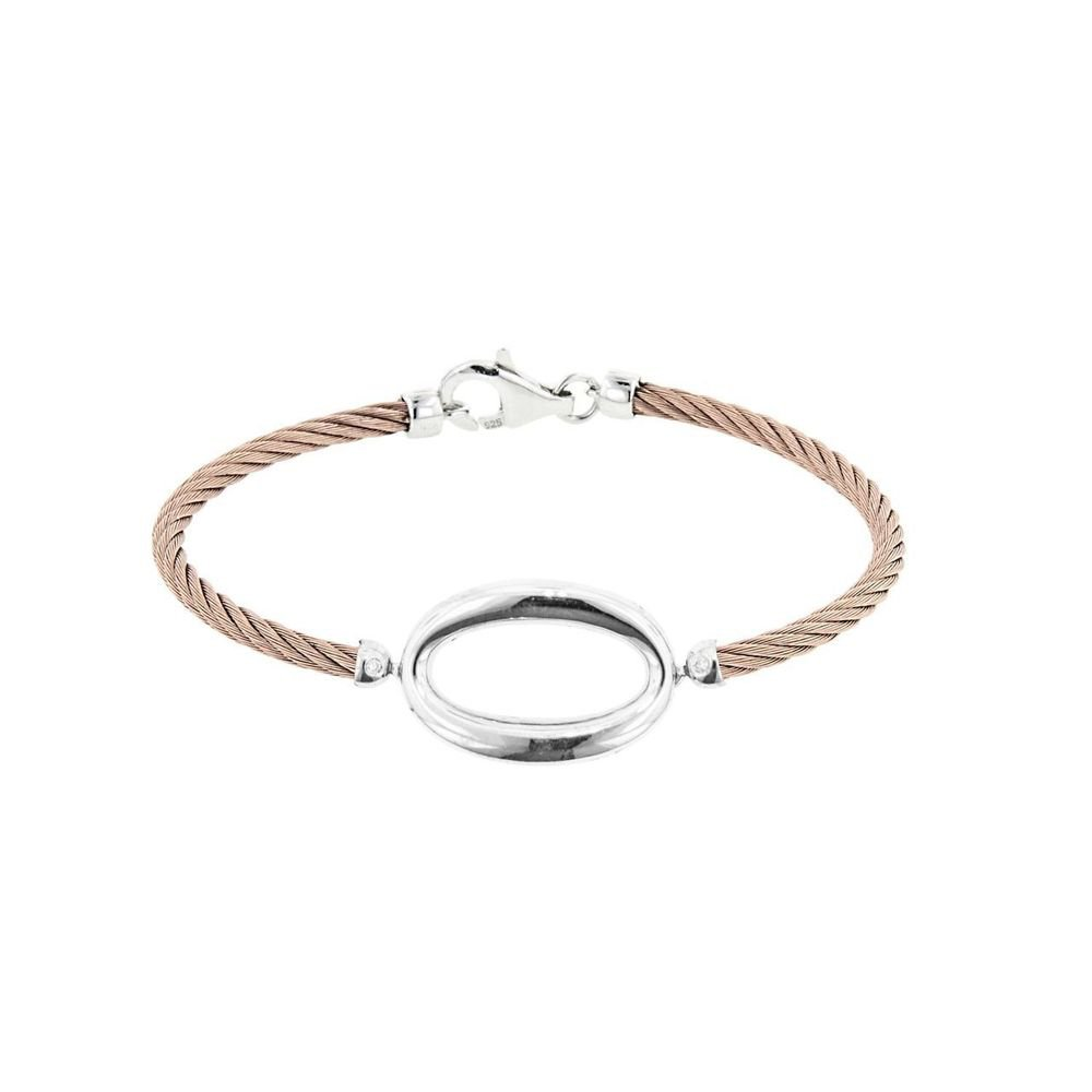 Montreaux Rose Toned and Sterling Silver & Stainless Steel Oval Bracelet With Diamond Accents