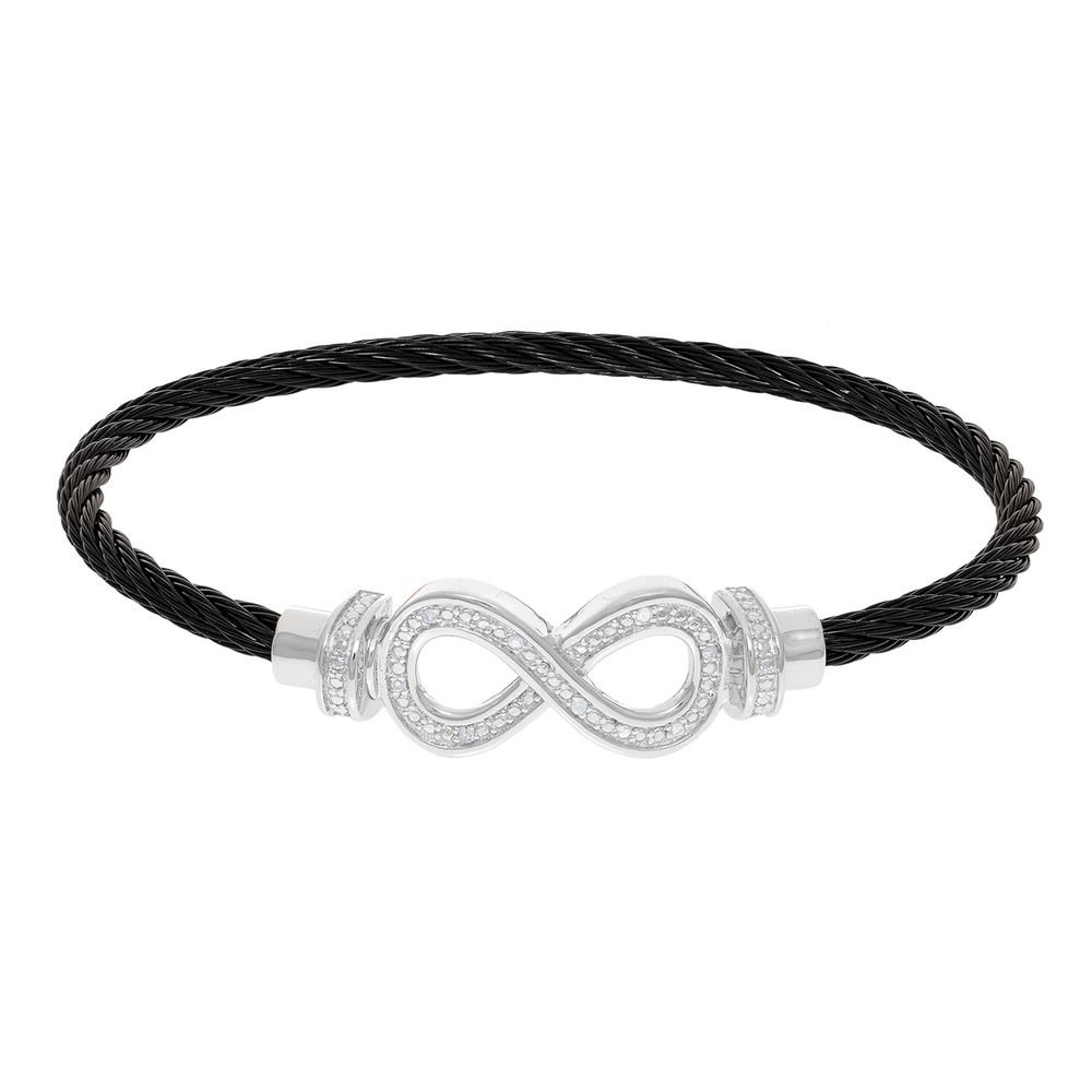 Montreaux Black Twisted Cable Infinity Bracelet With Diamonds