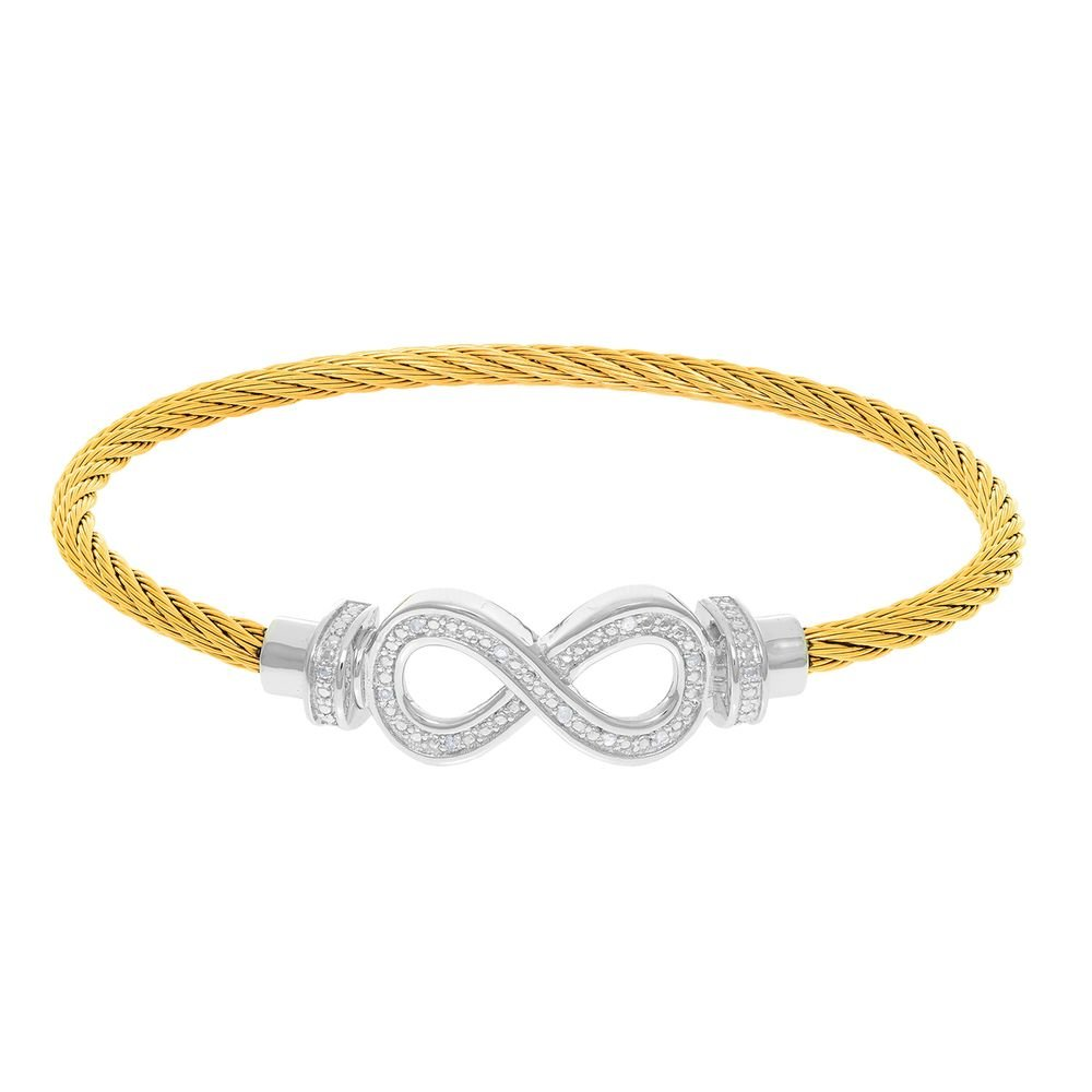 Montreaux Gold Twisted Cable Infinity Bracelet With Diamonds