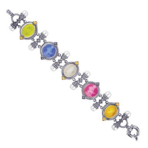 "Phillip Gavriel Collection - 18K Gold & Sterling Silver Venetian Cameo Bracelet 8"""
