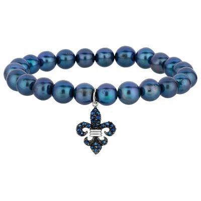 Phillip Gavriel Sterling Silver Greyish Pearl + Blue Sapphire Fleur De Lis Stretch  Bracelet.
