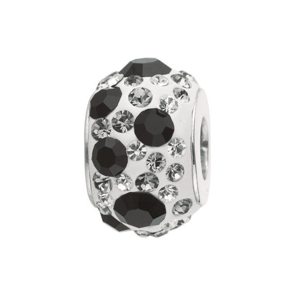 Personality silver kaleidoscope bead w/black and clear crytals