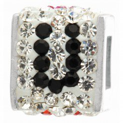 """Personality jewelry collection Red+Blue+White Crystal Inital """"U"""" Cube Bead"""