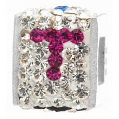 """Personality jewelry collection Red+Blue+White Crystal Inital """"T"""" Cube Bead"""