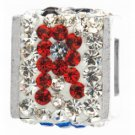 "personality jewelry collection Red+Blue+White Crystal Inital ""R"" Cube Bead"