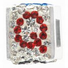"personality jewelry collection Red+Blue+White Crystal Inital ""Q"" Cube Bead"