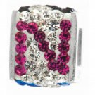 "Personality jewelry collection Red+Blue+White Crystal Inital ""N"" Cube Bead"