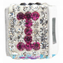 """Personality jewelry collection Red+Blue+White Crystal Inital """"I"""" Cube Bead"""