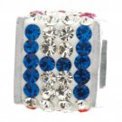 """Personality jewelry collection Red+Blue+White Crystal Inital """"H"""" Cube Bead"""
