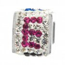"""Personality jewelry collection Red+Blue+White Crystal Inital """"E"""" Cube Bead"""