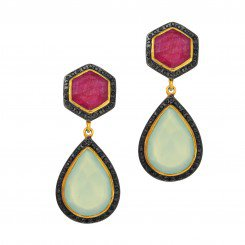 Phillip Gavriel Yellow Silver with Aqua Chalcedony+Ruby Surrounded with Black Spinel Drop Earrings