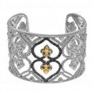 Phillip Gavriel 18kt Yellow Gold+Silver Soft Edged Fleur De Lis Cuff Bangle with Black Diamond