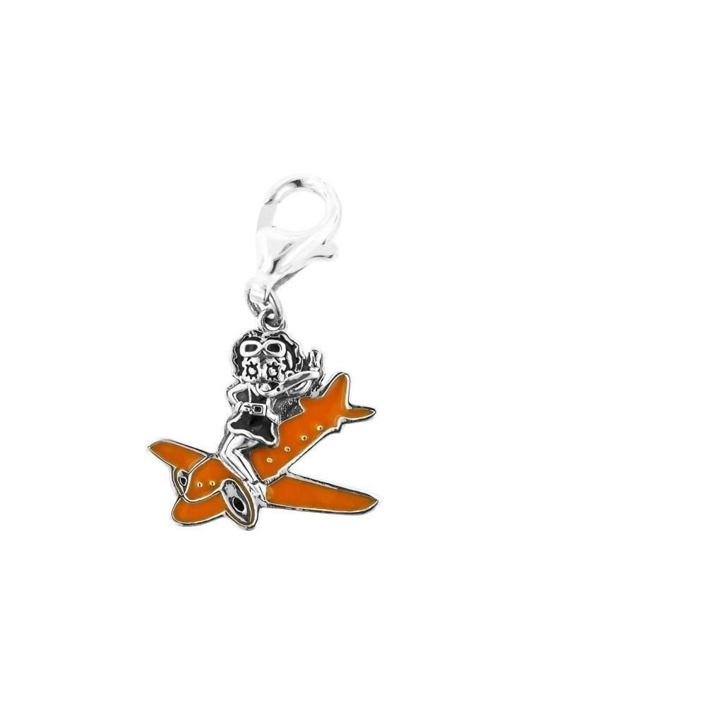 """Personality Jewelry Collection Silver & Orange Enamel """"Betty Boop"""" On a Plane Sterling Silver"""