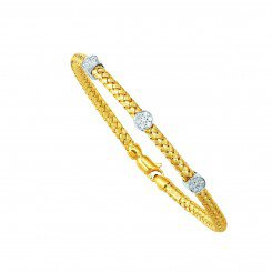 14K two tone Gold round Basket Weaved Bangle Barrels with 0.21ct White Diamond