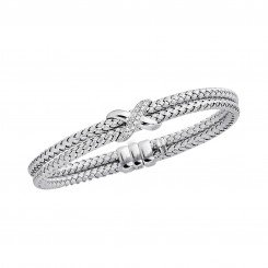 14K White Gold Double Basket Weaved Bangle with 0.18ct Whit e Diamond