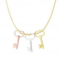 14kt Yellow, White & Rose Gold 3 -Tri-Color Shiny Key On Cable Link Necklace