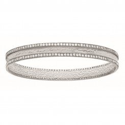 Silver Hammered Textured Concaved Slip On Bangle Studdeded with Double Row White Cubic Zirconia