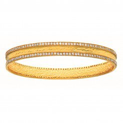 Silver Yellow tone Bangle Studded with Double Row White Cubic Zirconia