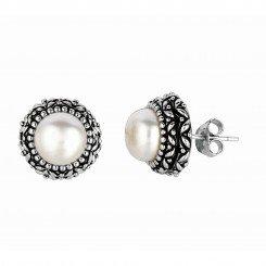 Silver with Rhodium Finish Oxodized Finish Shiny Round White Pearl Earring