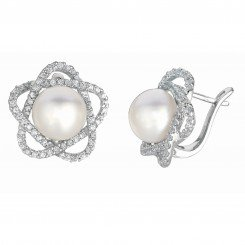 Silver with Rhodium Finish Shiny Flower Type Leverback Earring with White Pearl+White Cubic Zirconia
