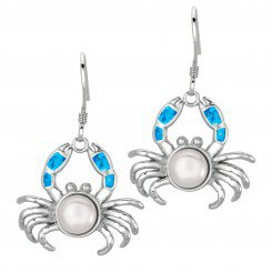 Silver with Rhodium Finish Shiny Created Opal & White Pearl Crab Drop Earrings
