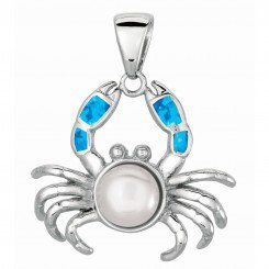 Silver with Rhodium Finish Shiny Created Opal Crab Pendant with White Pearl