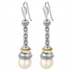 Phillip Gavriel Jewlery 18kt Yellow Gold+Sterling Silver White Pearl Drop Popcorn Earring