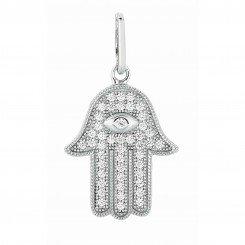 Silver with Rhodium Finish Shiny Hand of fatima hamsa Pendant with White Cubic Zirconia